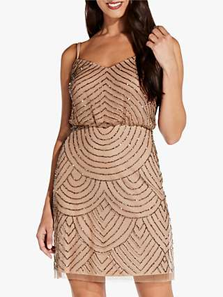 Adrianna Papell Blouson Cocktail Dress, Taupe/Pink