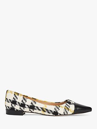 L.K.Bennett Perth Houndstooth Tweed Toe Cap Flats, White/Black