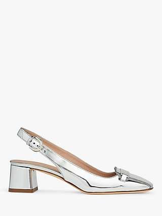 L.K.Bennett Harlem Metallic Leather Open Court Slingback Heels, Silver