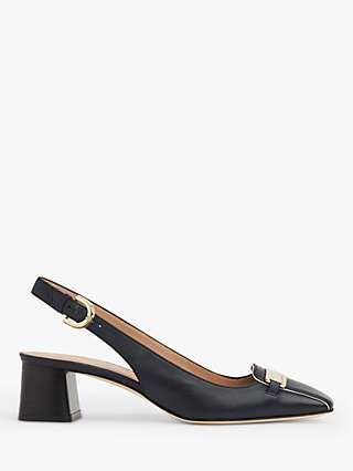 L.K.Bennett Harlem Leather Slingback Heels, Navy