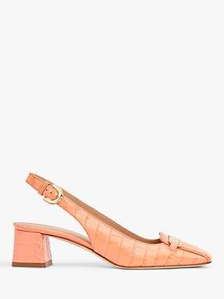 L.K.Bennett Harlem Leather Croc Effect Slingback Heels, Apricot
