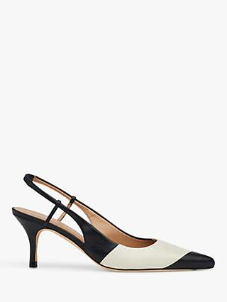 L.K.Bennett Hayes Leather Monochrome Slingback Heels, Black/White