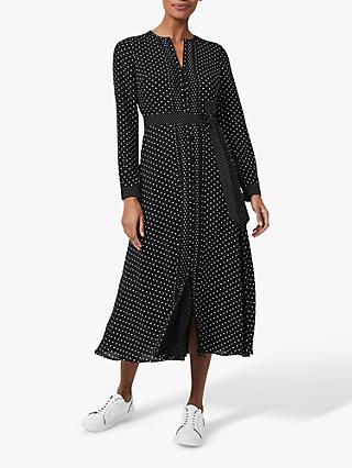 Hobbs Thea Spot Midi Shirt Dress, Black/Ivory