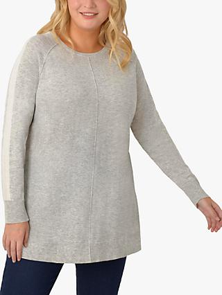 Live Unlimited Curve Stripe Sleeve Jumper, Light Grey