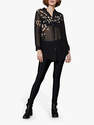 Mint Velvet Lydia Abstract Print Sheer Shirt, Black