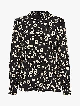L.K.Bennett Gio Cheetah Print Silk Blouse, Black/Cream
