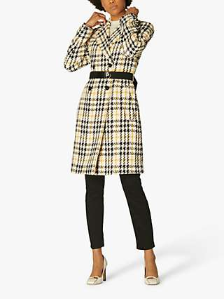 L.K.Bennett Check Double Breasted Coat, Yellow/Multi