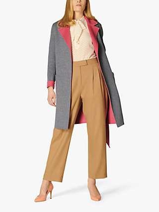 L.K.Bennett Gabriel Double Faced Wool Coat, Grey/Pink