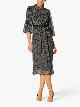 L.K.Bennett Rowan Spot Dress, Black/Cream