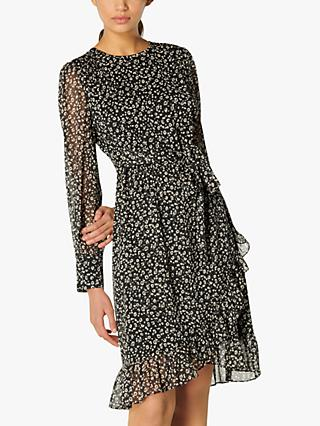 L.K.Bennett Dion Cheetah Print Frill Dress, Black/Cream