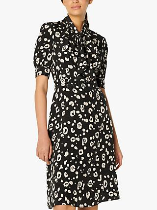 L.K.Bennett Gigi Silk Dress, Black/Cream