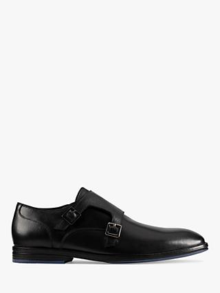Clarks CitiStride Leather Monk Shoes, Black