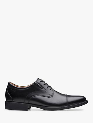 Clarks Whiddon Cap Derby Leather Shoes, Black