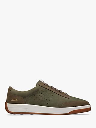 Clarks Hero Air Lace Up Suede Trainers, Olive