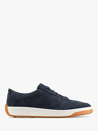 Clarks Hero Air Lace Up Leather Trainers, Navy