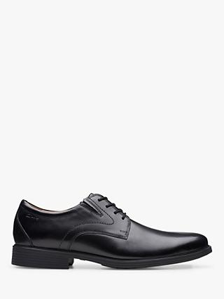 Clarks Whiddon Plain Derby Leather Shoes, Black