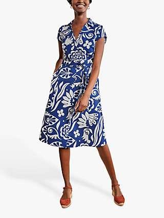 Boden Rowena Garden Tropic Shirt Dress, Summit/Multi