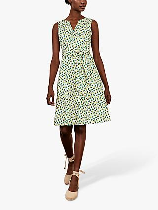 Boden Mischa Belt Dress, Ivory Citrus Fruit