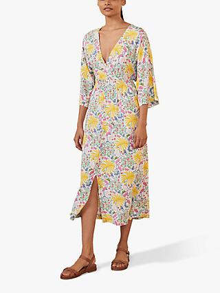 Boden Betsy Dress, Ivory Tropical Charm