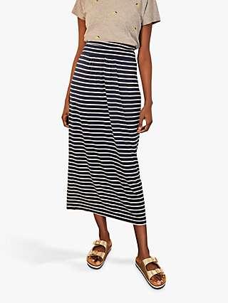 Boden Stripe Ruched Skirt, Navy/Ivory
