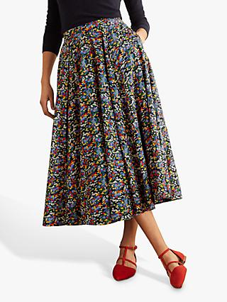 Boden Corinne Floral Skirt, Navy Ditsy Field