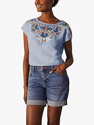 Boden Fleur Linen Embroidered Top