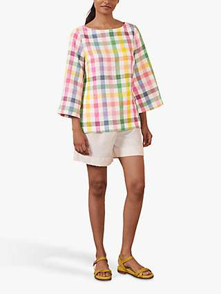 Boden Laurie Gingham Linen Top, Pink/Multi