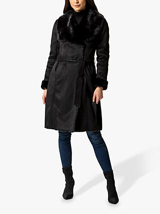 Forever New Jade Shearling Faux Fur Collar Borg Coat