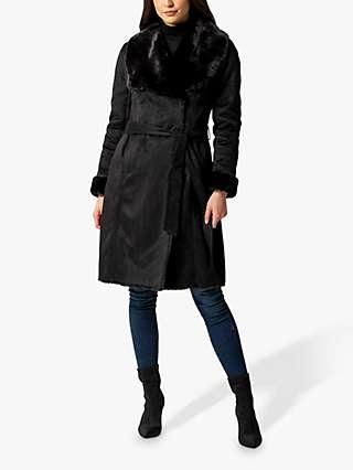 Forever New Jade Shearling Faux Fur Collar Borg Coat