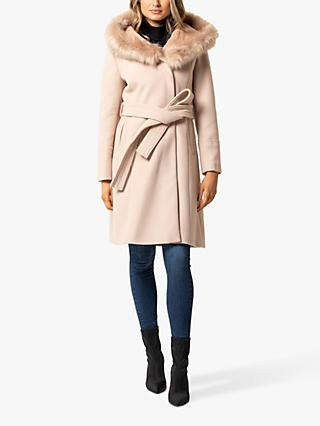 Forever New Bianca Faux Fur Trim Hood Wrap Coat, Soft Oatmeal
