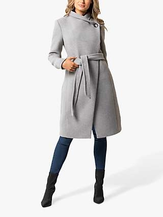 Forever New Iris Wrap Coat, Grey Marl