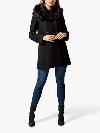 Forever New Trish Faux Fur Trim Hood Duffel Coat, Black