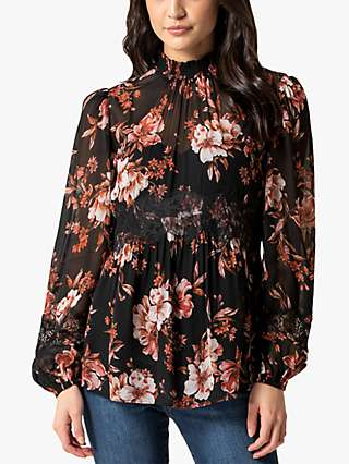 Forever New Hadlee High Neck Lace Detail Top, Rusted Bloom