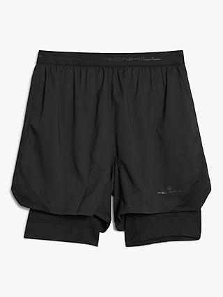 "Ronhill Tech Revive 5"" Twin Running Shorts, All Black"
