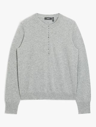 Theory Cashmere Button Up Jumper, Grey