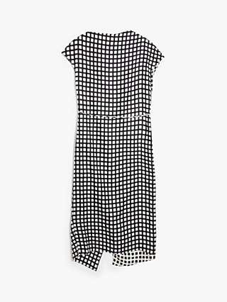 Theory Asymmetric Check Drape Silk Dress, Black
