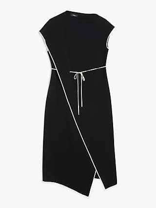Theory Contrast Trim Crepe Midi Dress, Black