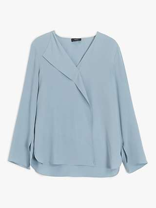 Theory Silk Overlap Blouse, Light Blue