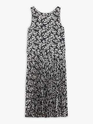 Theory Daisy Print Crepe Pleated Dress, Black/Multi