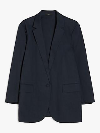 Theory Casual Linen Blend Blazer, Navy