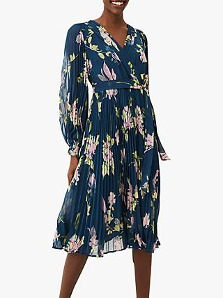 Phase Eight Elsa Floral Print Pleat Dress, Petrol