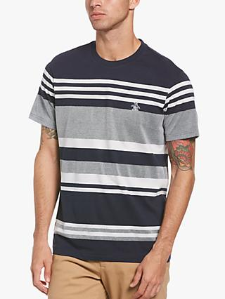 Original Penguin Engineered Stripe T-Shirt, 413 Dark Sapphire