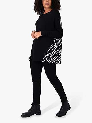 Live Unlimited Zebra Print Jersey Top, Black