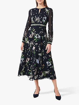 Hobbs Skye Silk Floral Dress, Navy/Multi