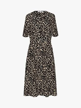 Gerard Darel Saly Floral Print Silk Dress, Black