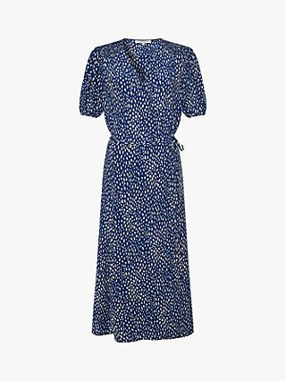 Gerard Darel Sicile Spotted Wrap Dress, Blue