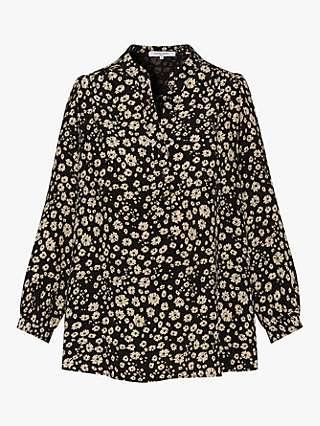 Gerard Darel Nills Floral Print Silk Blouse, Black