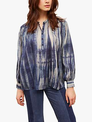 Gerard Darel Naim Silk Tie Dye Blouse, Blue
