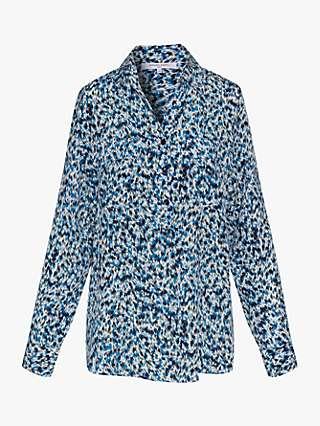 Gerard Darel Noam Brushwork Print Silk Blouse, Blue
