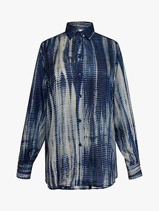 Gerard Darel Nilima Abstract Print Silk Blouse, Blue